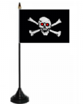 Pirate Jolly Roger Red Eyes Desk / Table Flag with plastic stand and base